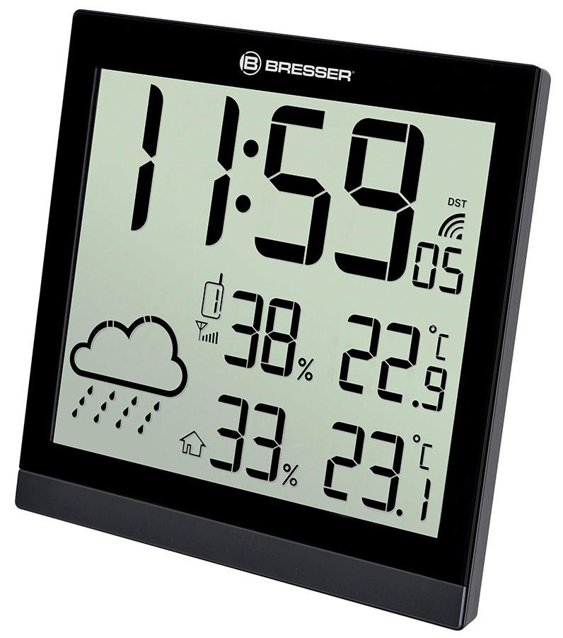 Картинка для Метеостанция (настенные часы) Bresser (Брессер) TemeoTrend JC LCD с радиоуправлением, черная