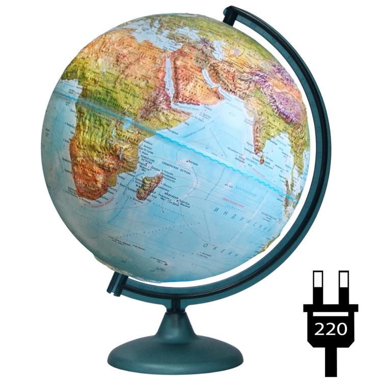 Картинка для Глобус Земли ландшафтный рельефный, диаметр 320 мм, с подсветкой