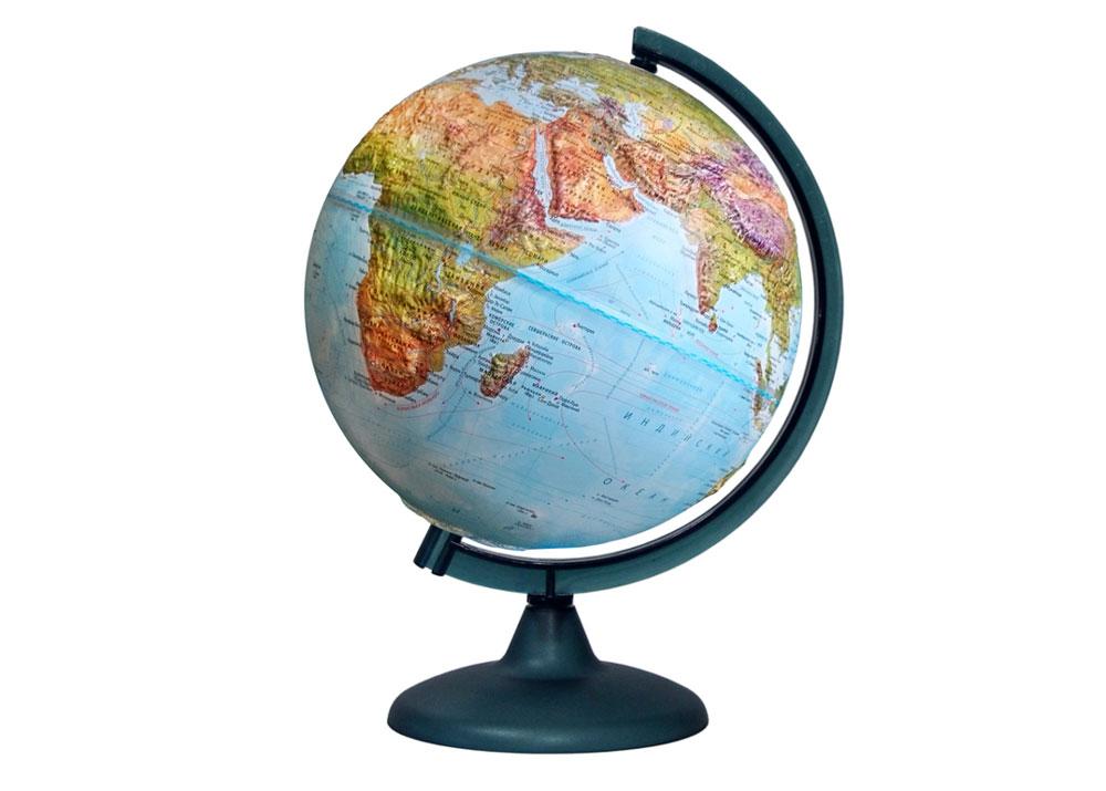 Картинка для Глобус «Двойная карта» рельефный диаметром 250 мм, с подсветкой