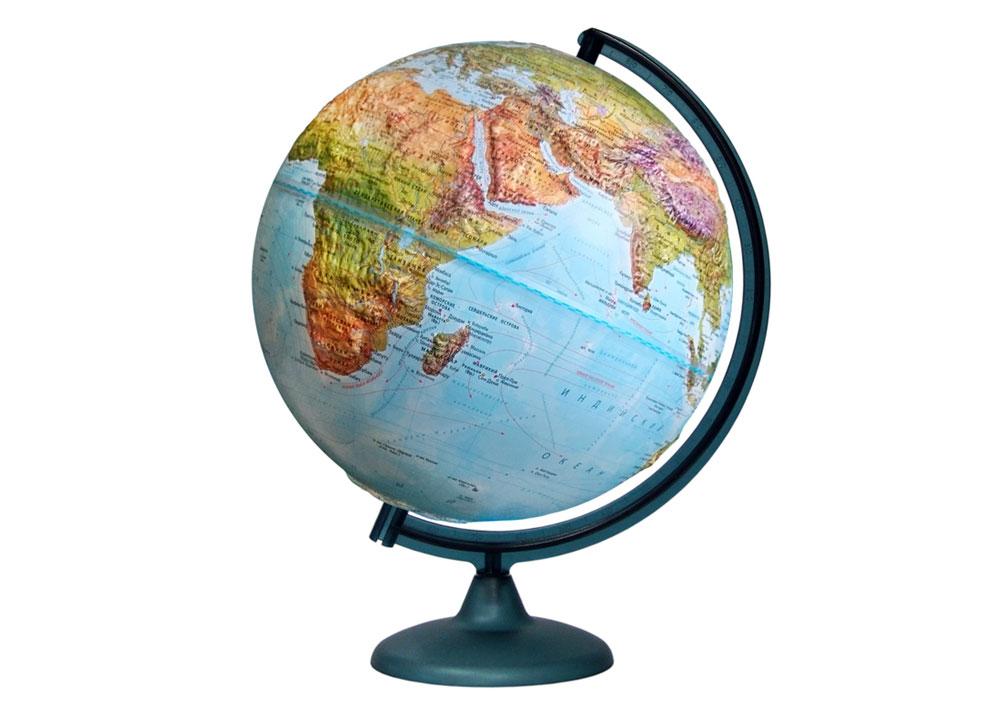 Картинка для Глобус «Двойная карта» рельефный диаметром 320 мм, с подсветкой