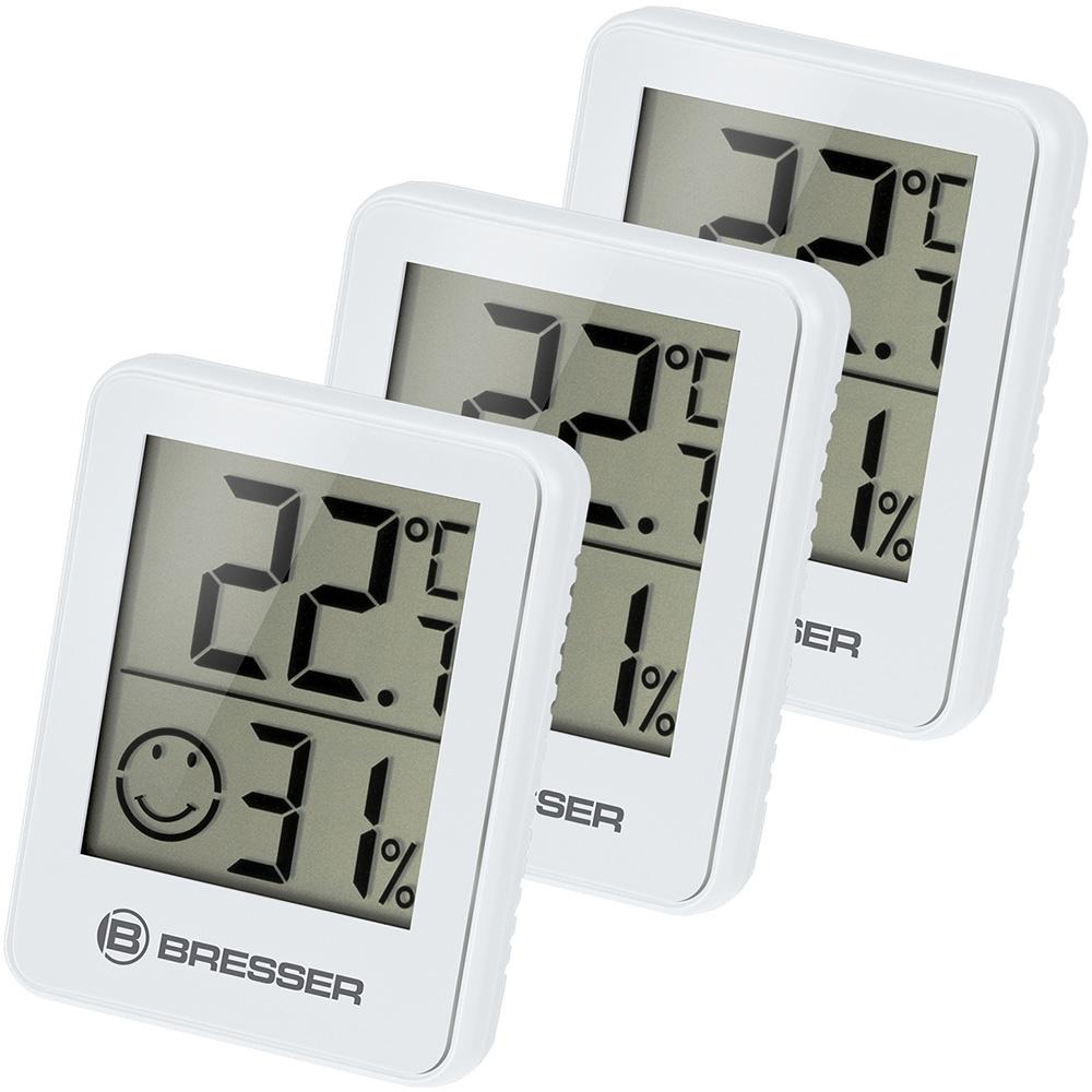 Картинка для Гигрометр и термометр Bresser (Брессер) Temeo Hygro, набор 3 шт., белый