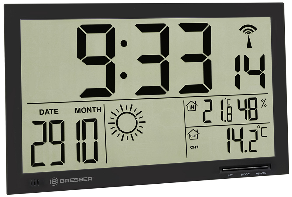 Картинка для Метеостанция (настенные часы) Bresser (Брессер) MyTime Jumbo LCD, черная