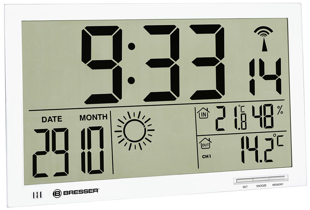 Картинка для Метеостанция (настенные часы) Bresser (Брессер) MyTime Jumbo LCD, белая