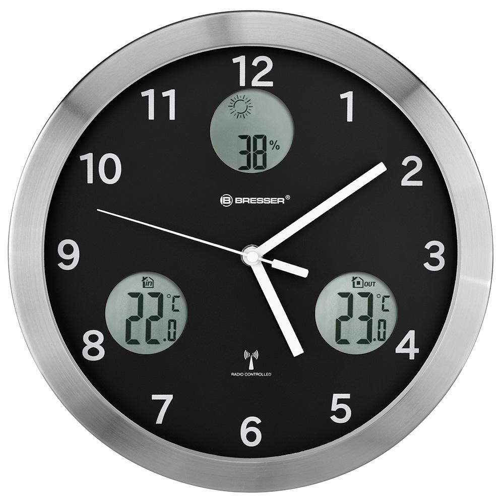 Картинка для Метеостанция (настенные часы) Bresser (Брессер) MyTime io, 30 см, черная