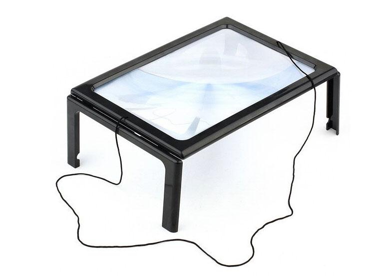 Картинка для Линза Френеля Kromatech настольная 2,5x, 161х238 мм, на ножках, с подсветкой (12 LED) TH-275205B