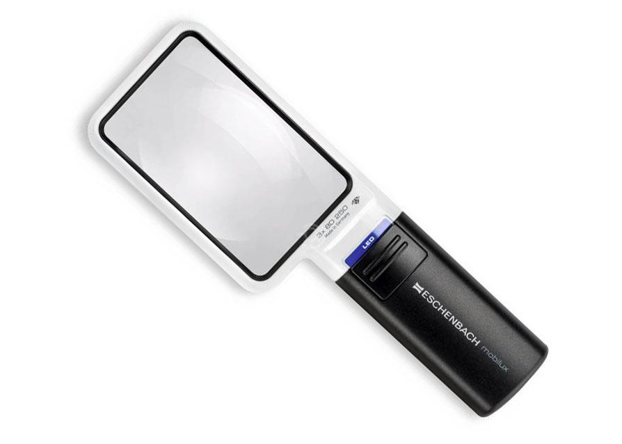 Картинка для Лупа на ручке асферическая Eschenbach Mobilux LED 3x, 90x54 мм, с подсветкой