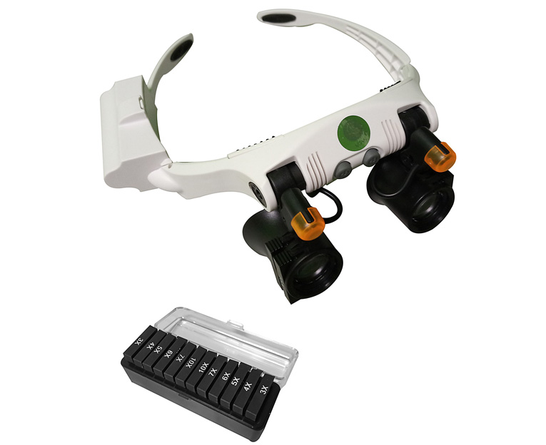 Лупа-очки Kromatech налобная 3/10/15/25x, с подсветкой (2 LED) 32225-21SX