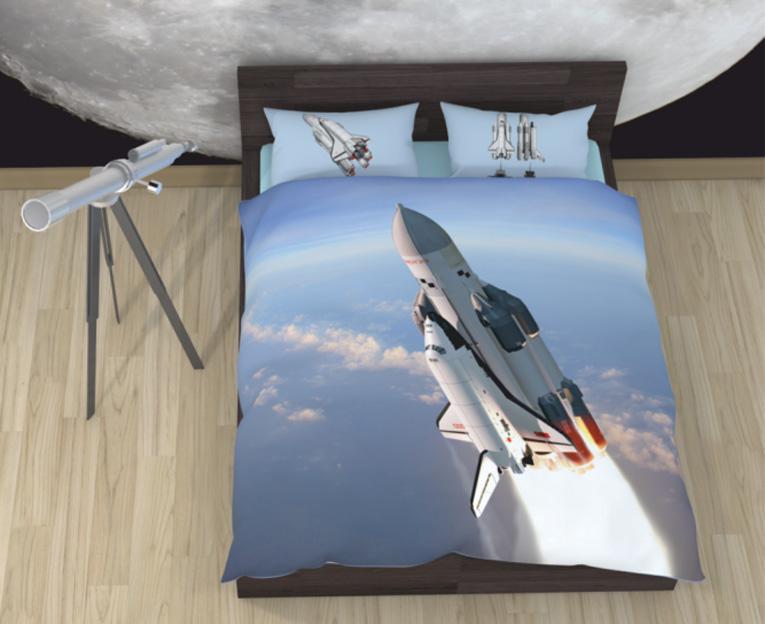 Картинка для Комплект постельного белья NEWTONE «Космический корабль Буран», 1,5-спальное