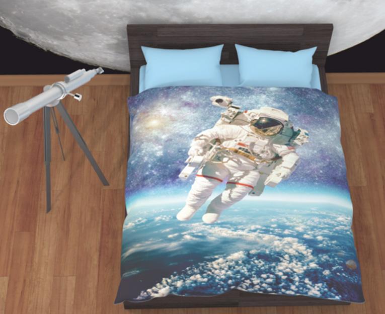Картинка для Комплект постельного белья NEWTONE «Астронавт в открытом космосе», 1,5-спальное