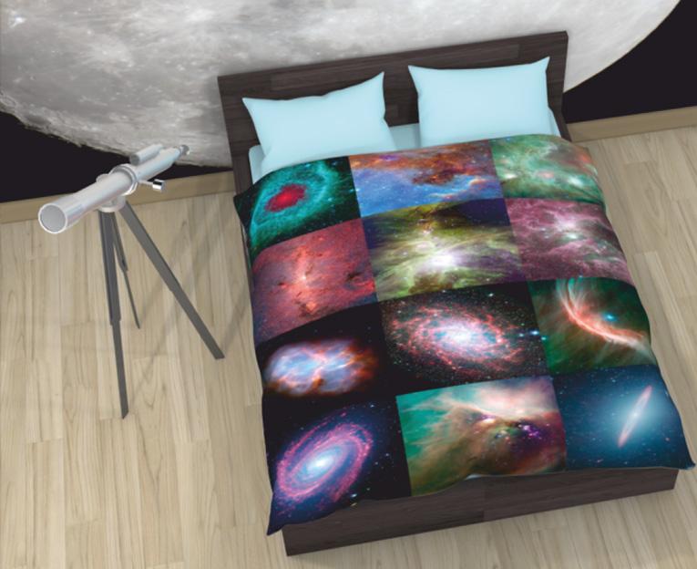 Картинка для Комплект постельного белья NEWTONE «Туманности в космосе», 1,5-спальное