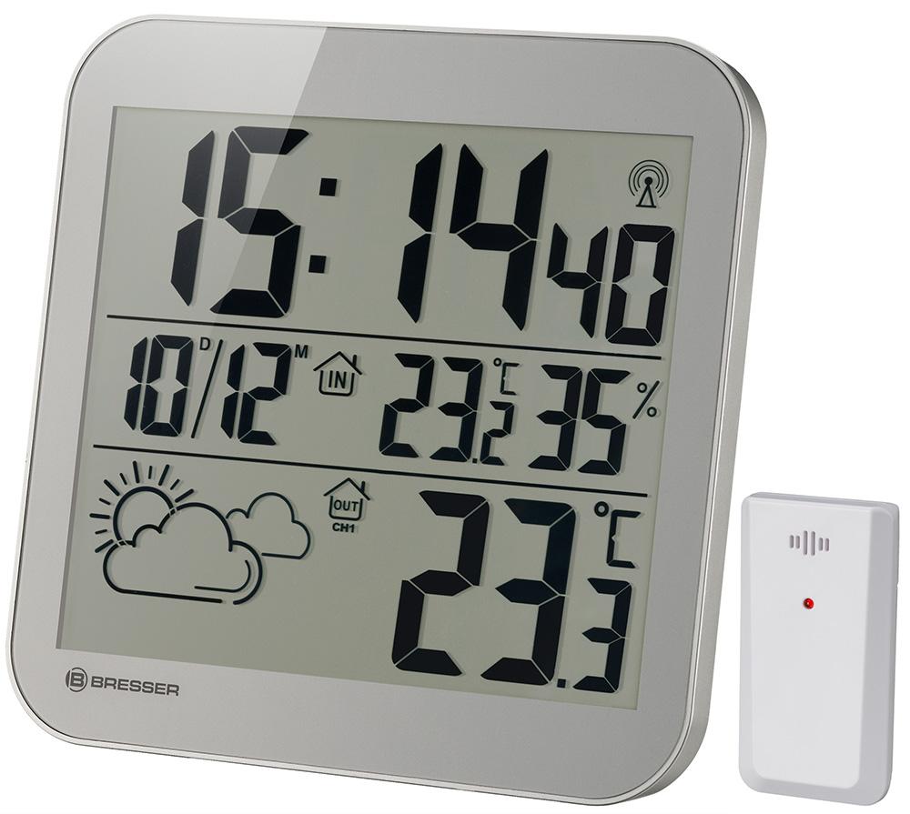 Часы настенные Bresser (Брессер) MyTime LCD, серебристые
