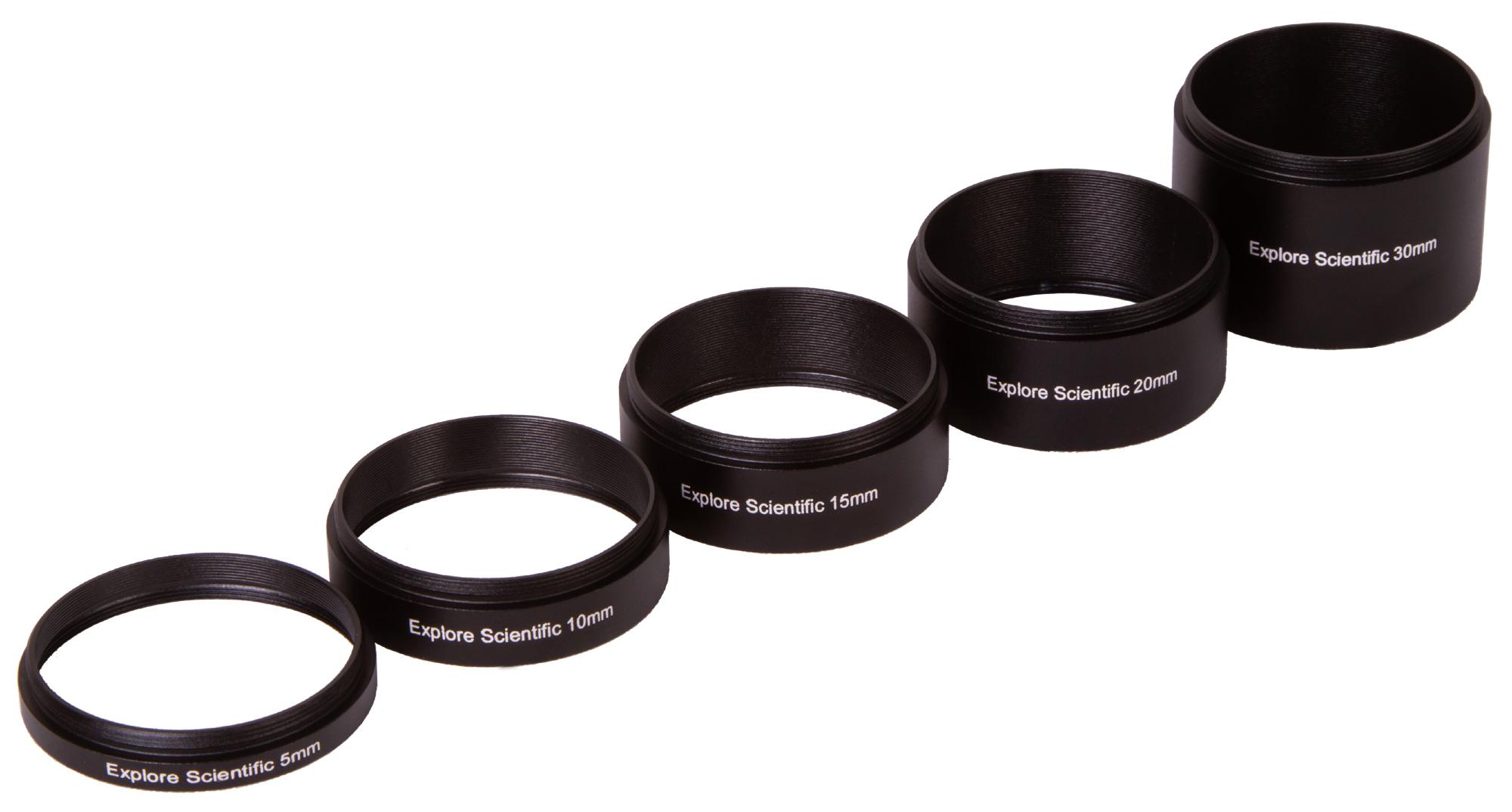 Картинка для Набор удлинительных колец Explore Scientific M48x0,75 (30, 20, 15, 10, 5 мм)