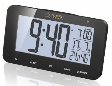Картинка для Часы цифровые Explore Scientific с будильником, черные