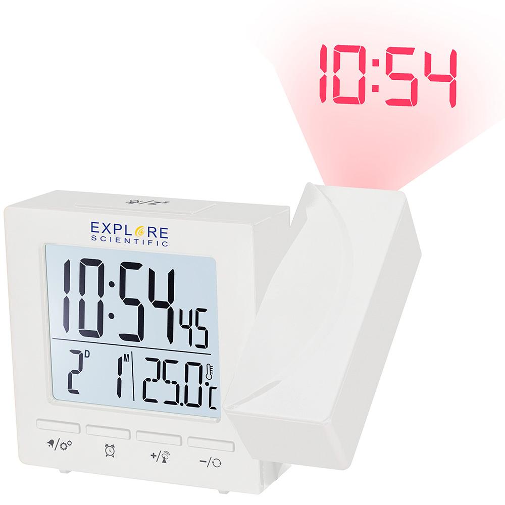 Картинка для Часы цифровые Explore Scientific с проектором и термометром, белые