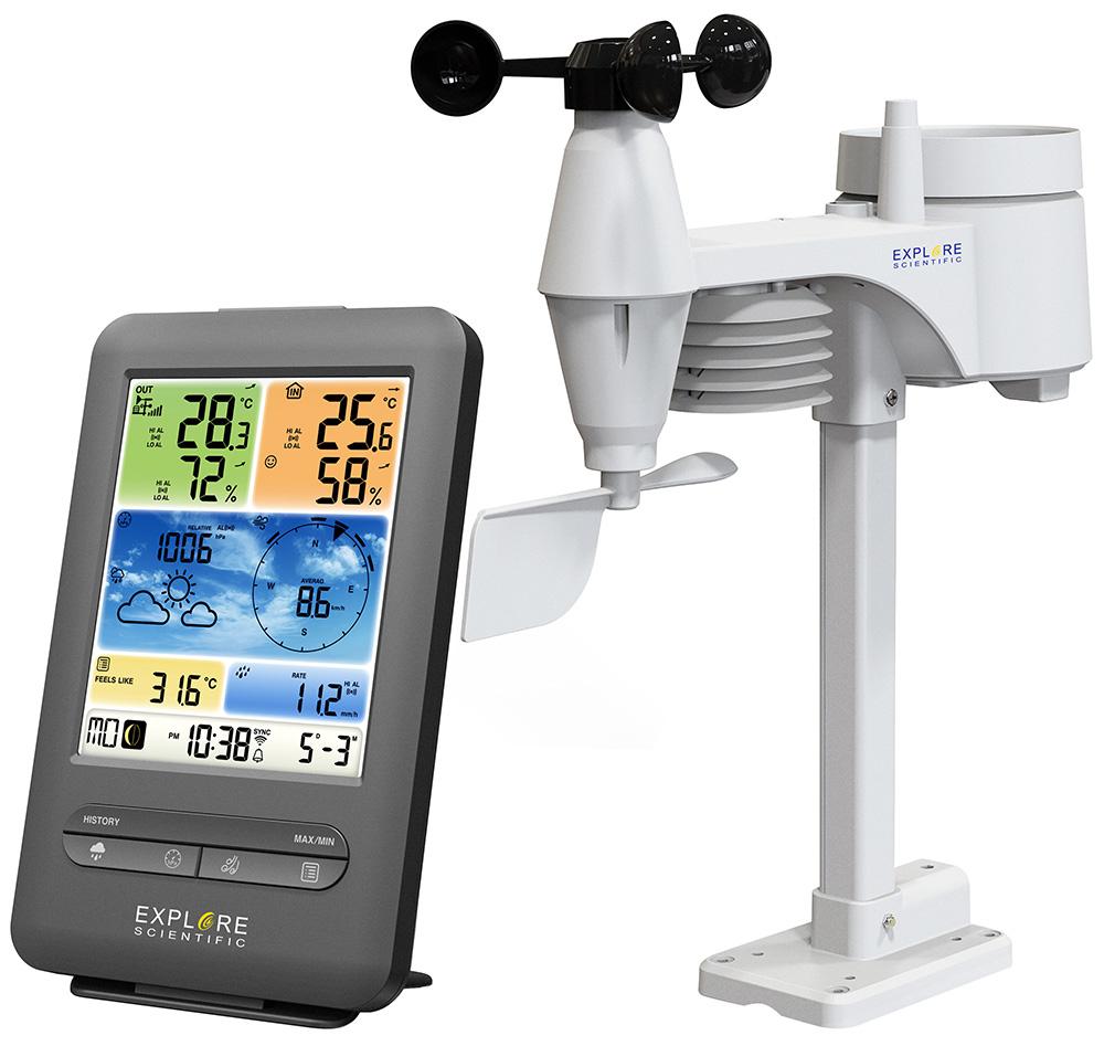 Метеостанция Explore Scientific «5 в 1» Wi-Fi с цветным дисплеем, черная