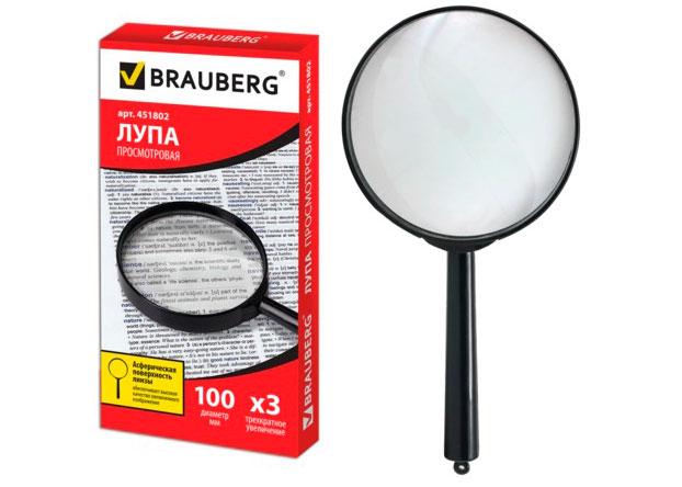 Картинка для Лупа BRAUBERG ручная 3х, 100 мм (451802)
