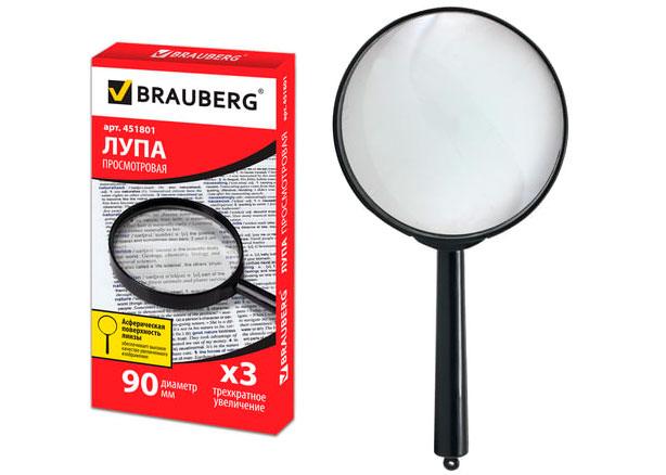 Картинка для Лупа BRAUBERG ручная 3х, 90 мм (451801)
