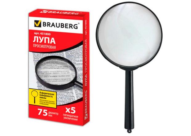 Картинка для Лупа BRAUBERG ручная 5х, 75 мм (451800)
