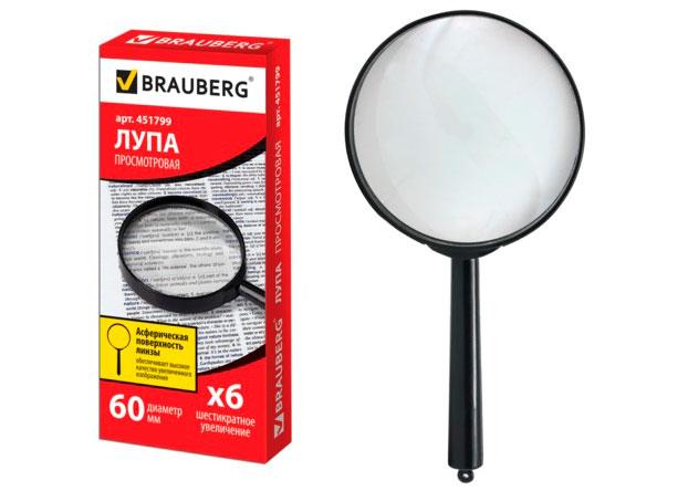 Картинка для Лупа BRAUBERG ручная 6х, 60 мм (451799)