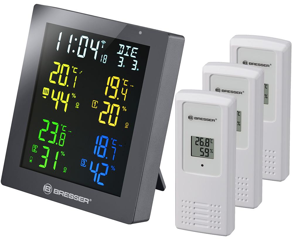 Картинка для Гигрометр Bresser (Брессер) ClimaTemp Hygro Quadro с тремя датчиками, серый