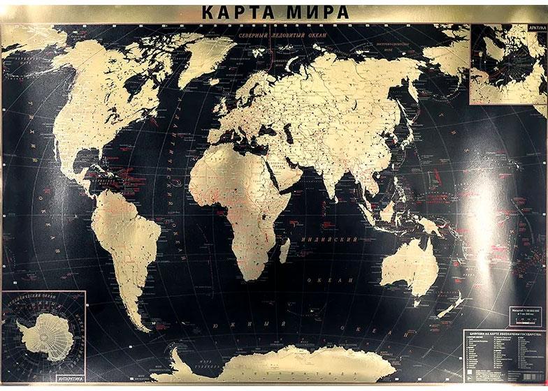 Картинка для Карта мира политическая GOLD, интерьерная, настенная