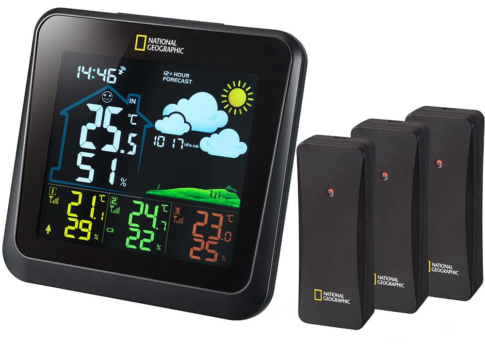 Картинка для Метеостанция Bresser (Брессер) National Geographic VA с цветным дисплеем и тремя черными датчиками