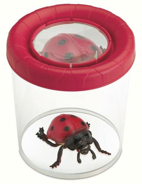 Картинка для Банка для насекомых Navir «Мега» с лупой 3x и жуком, красный