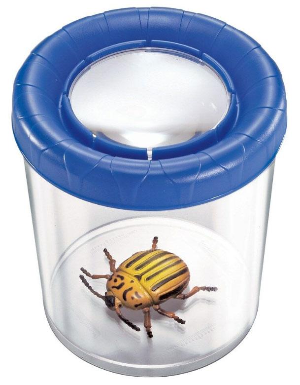 Картинка для Банка для насекомых Navir «Мега» с лупой 3x и жуком, синий