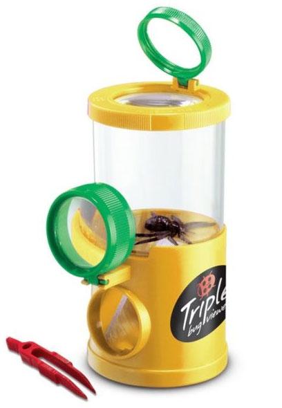 Картинка для Банка для насекомых Navir «Обзор с трех сторон» с лупами, пинцетом и жуком, матовый желтый
