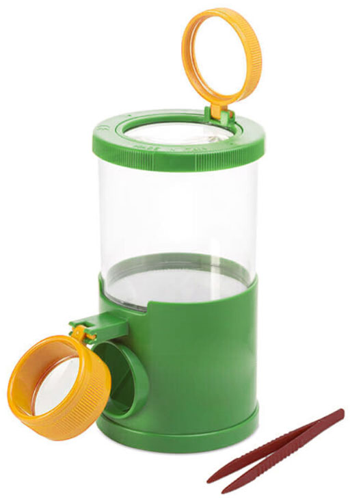 Картинка для Банка для насекомых Navir «Обзор с трех сторон» с лупами, пинцетом и жуком, матовый зеленый