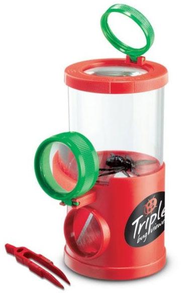Картинка для Банка для насекомых Navir «Обзор с трех сторон» с лупами, пинцетом и жуком, матовый красный
