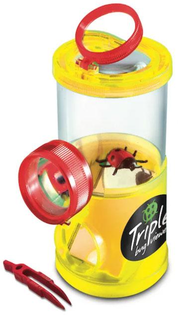 Картинка для Банка для насекомых Navir «Обзор с трех сторон» с лупами, пинцетом и жуком, прозрачный желтый
