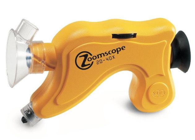 Картинка для Микроскоп детский портативный Navir «Зумскоп» 20–40x, с подсветкой, матовый желтый