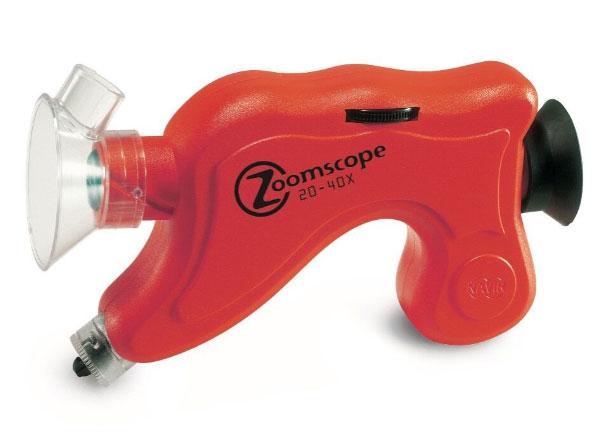 Картинка для Микроскоп детский портативный Navir «Зумскоп» 20–40x, с подсветкой, матовый красный