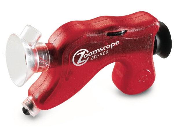 Картинка для Микроскоп детский портативный Navir «Зумскоп» 20–40x, с подсветкой, прозрачный красный