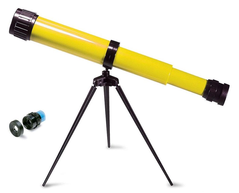 Картинка для Телескоп детский настольный Navir 15x c дополнительной линзой на 25x, желтый