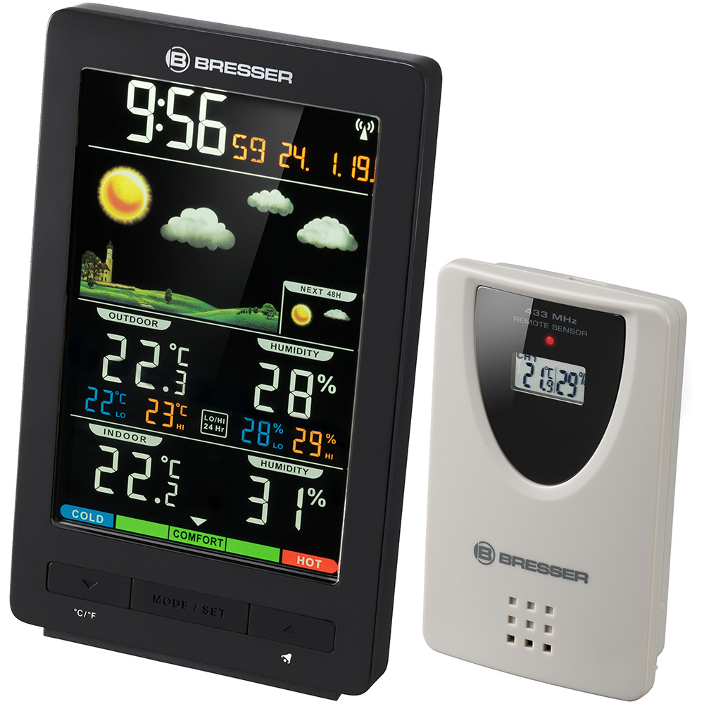Картинка для Метеостанция Bresser (Брессер) ClimaTemp WS с цветным дисплеем, черная