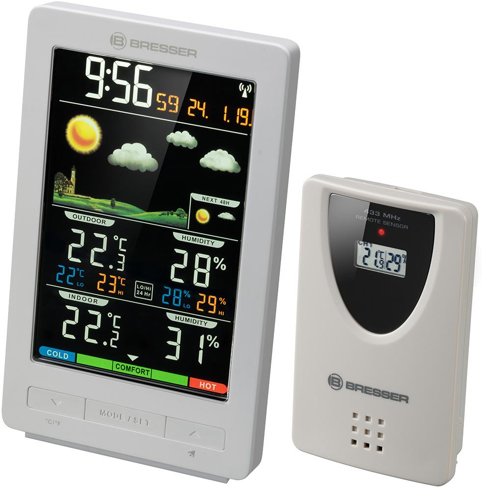 Картинка для Метеостанция Bresser (Брессер) ClimaTemp WS с цветным дисплеем, белая