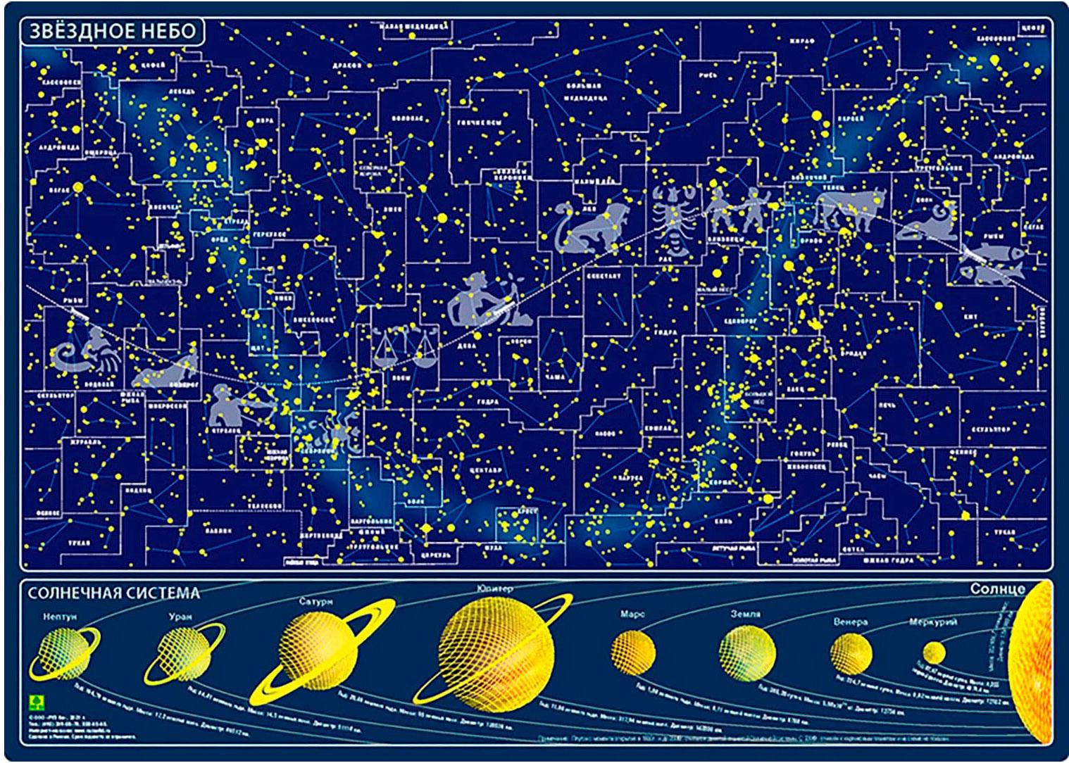 Карта звездного неба, светящаяся в темноте, на магнитной основе
