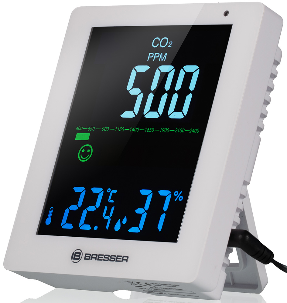 Картинка для Гигрометр Bresser (Брессер) Air Quality Smile с датчиком CO2, белый