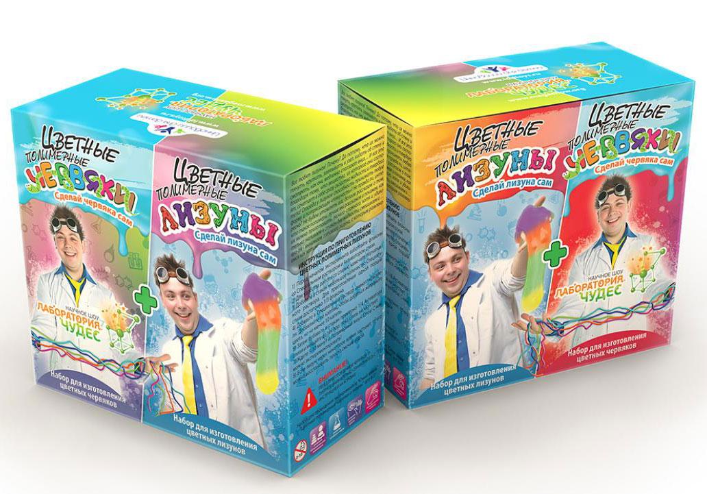 Картинка для Набор для опытов «Инновации для детей» 827 «Цветные червяки и лизуны»