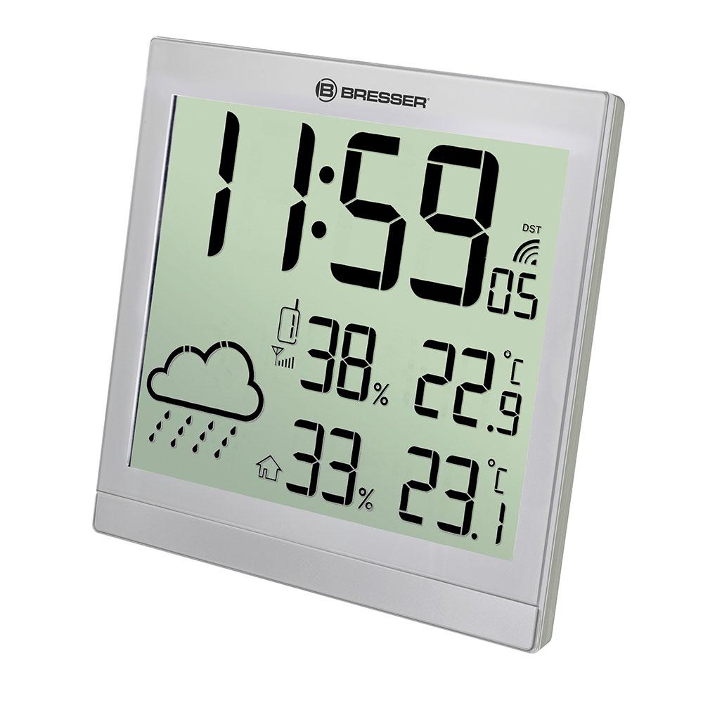 Картинка для Метеостанция (настенные часы) Bresser (Брессер) TemeoTrend JC LCD с радиоуправлением, серебристая