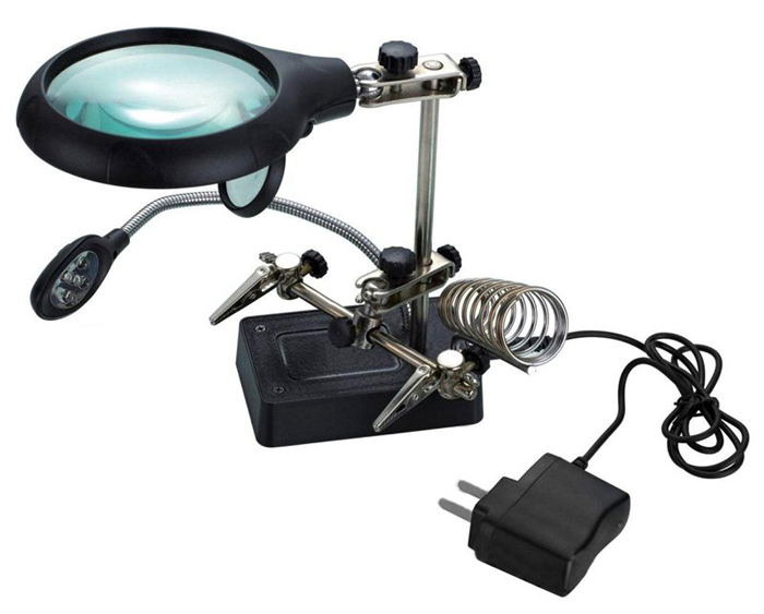 Картинка для Лупа Kromatech настольная 2,5x/7,5x/10x, 34/90 мм, с держателем и подсветкой (5 LED) MG16129-С