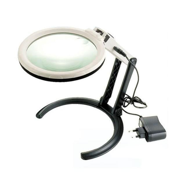 Картинка для Лупа Kromatech настольная 2/5x, 120 мм, складная, с подсветкой (10 LED) MG3B-1C