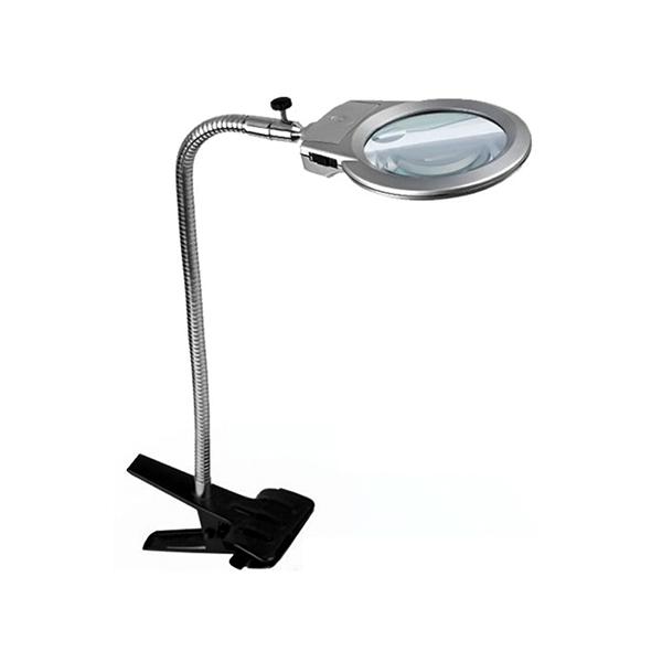 Картинка для Лупа Kromatech настольная 2/6x, 90 мм, с прищепкой и подсветкой (2 LED) MG15120-A