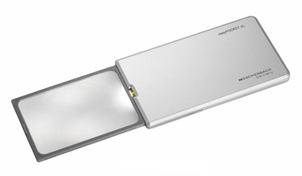 Картинка для Лупа выдвижная асферическая Eschenbach EasyPocket XL 2,5x, 78x50 мм, с подсветкой, серебристая