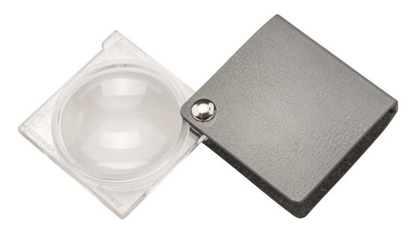 Картинка для Лупа складная двояковыпуклая Eschenbach Economy 3,5x, 45 мм, серебристый чехол (квадратный)