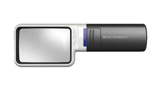 Картинка для Лупа на ручке асферическая дифракционная Eschenbach Mobilux LED 4x, 75x50 мм, с подсветкой