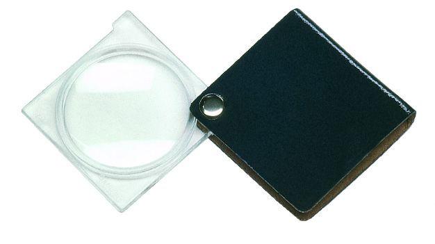 Картинка для Лупа складная двояковыпуклая Eschenbach Economy 3,5x, 45 мм, черный чехол (квадратный)