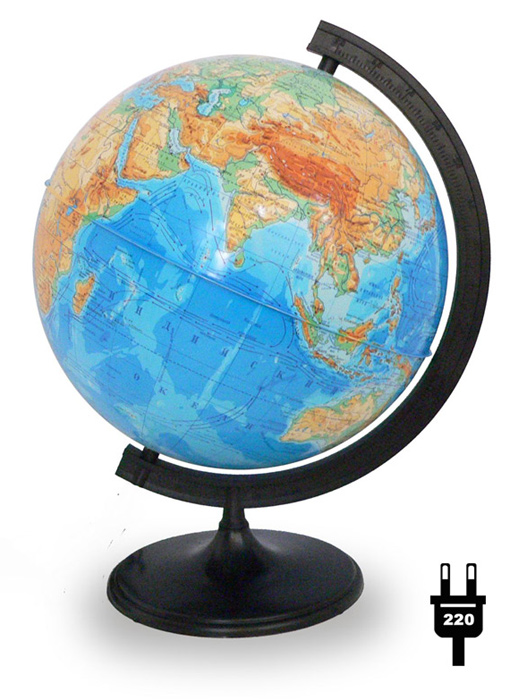 Картинка для Глобус физический диаметром 320 мм, с подсветкой